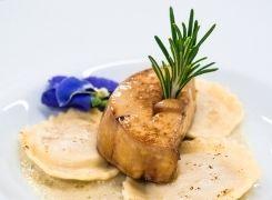 ravioles et foie gras poêlé